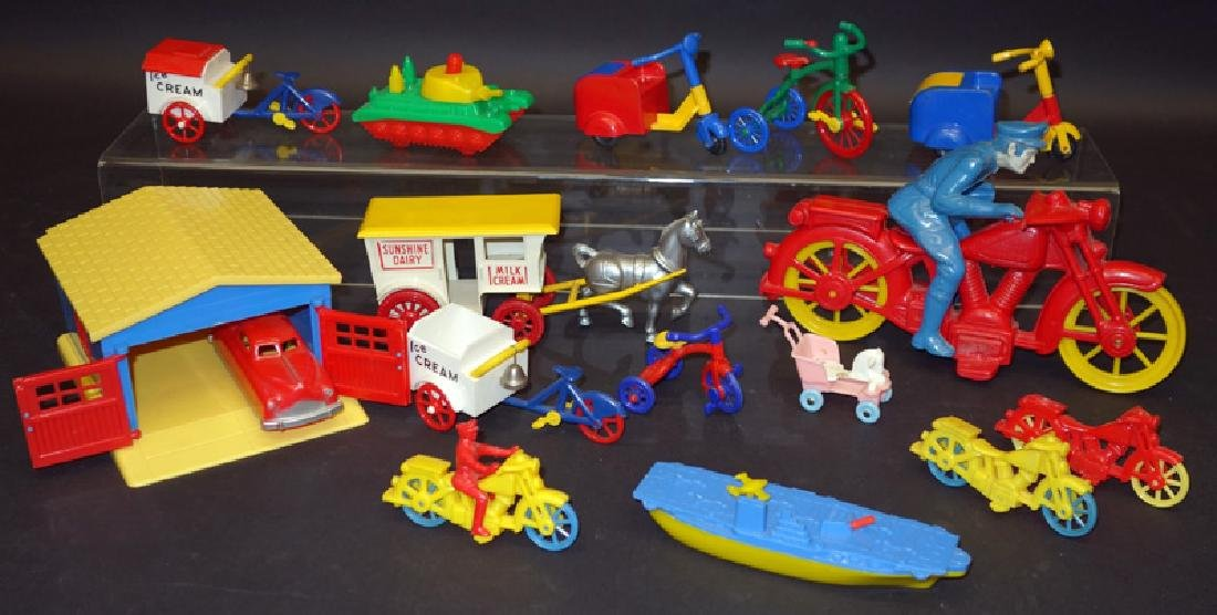 PLASTIC TOY VEHICLES, ETC. (15+/-)