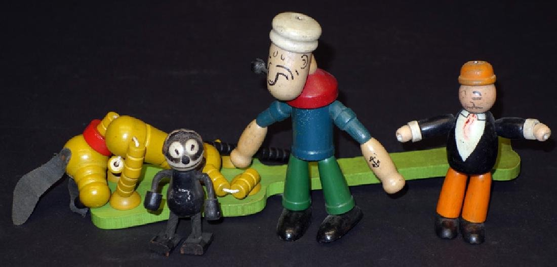 COMIC JOINTED WOOD FIGURES (4)