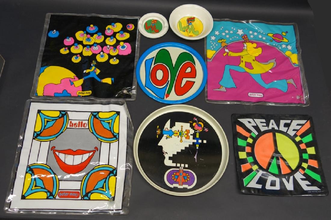 PETER MAX PILLOWS & TRAYS (8)