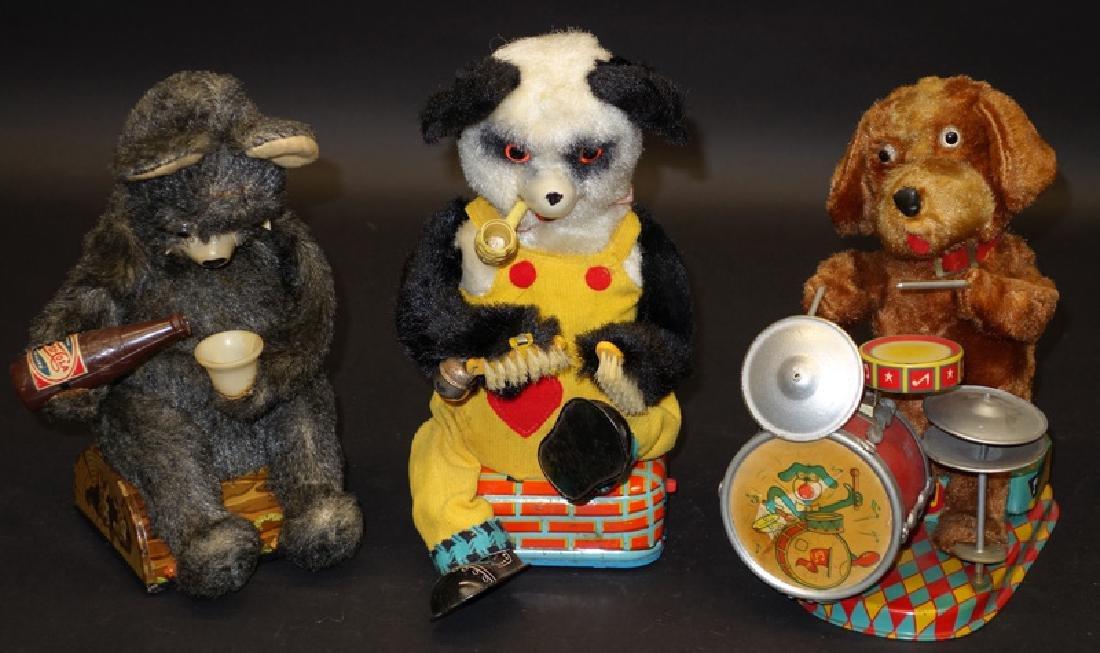 JAPANESE BATTERY OP BEAR & DOG TOYS (3)