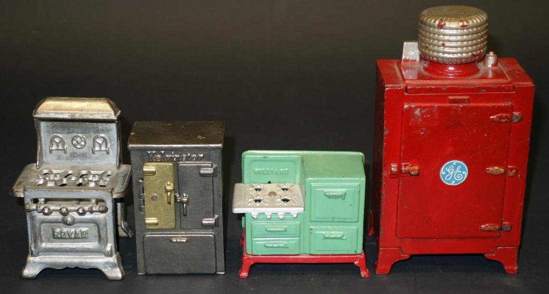 CAST IRON MINIATURE STOVES AND REFRIGERATORS - (4)