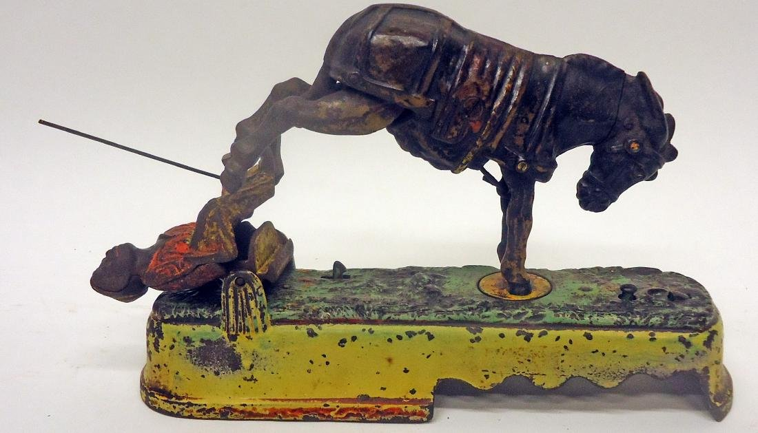 """ALWAYS DID SPISE A MULE"" MECHANICAL BANK - BENCH"
