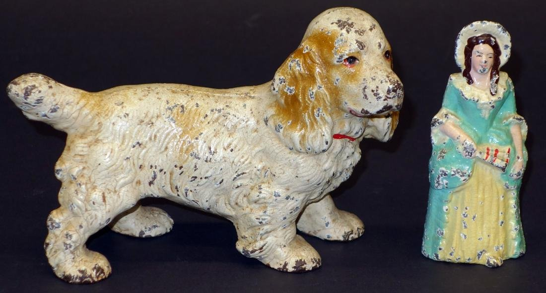 COCKER SPANIEL AND WOMAN WITH FAN DOORSTOPS - (2)