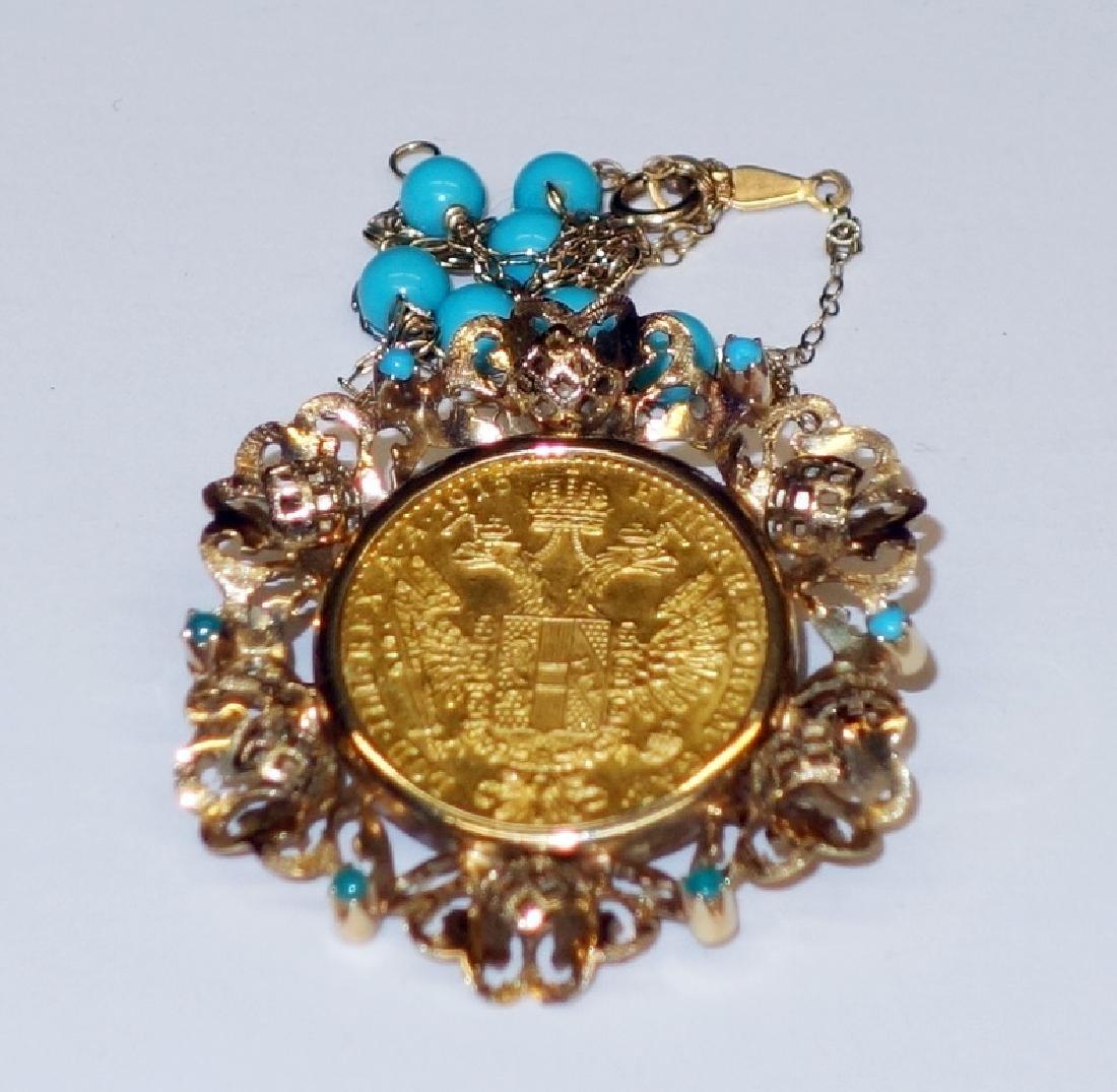 AUSTRIAN GOLD DUCAT PIN / DROP