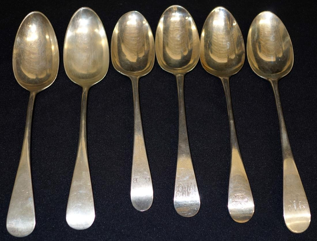 ENGLISH & AMERICAN STERLING SERVING SPOONS (6)