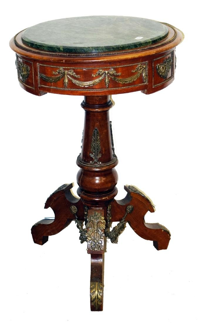 PROVINCIAL MARBLE TOP LAMP TABLE