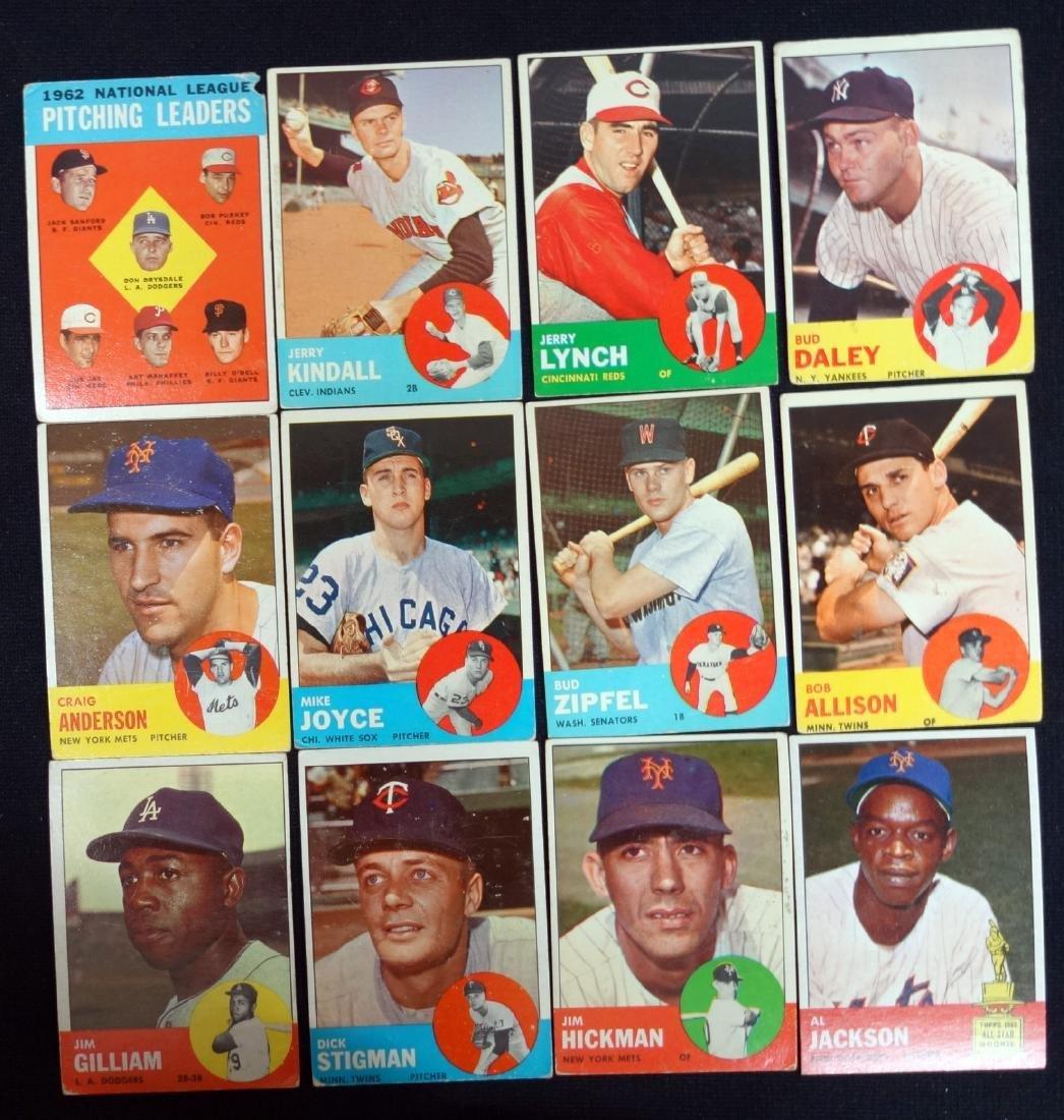 1963 TOPPS BASEBALL CARDS #7-#199 INCOMPLETE (35)