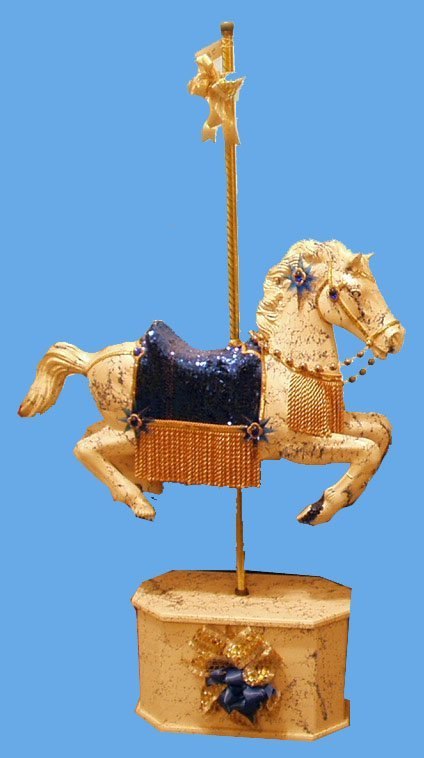 272: PLASTIC CAROUSEL HORSE ON STAND