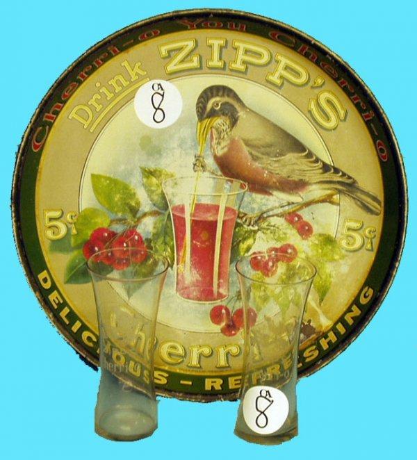 1008: ZIPPS CHERRI-O TRAY & GLASSES