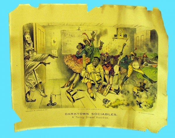 1237: BLACK AMERICANA CURRIER  IVES DARKTOWN LITHOGRAPH