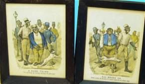 1245: BLACK AMERICANA DARKTOWN CURRIER & IVES LITHOS