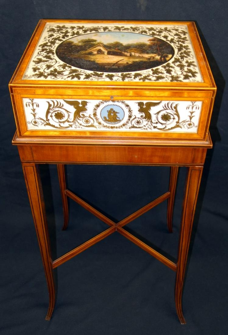 EGLOMISE SEWING BOX ON STAND