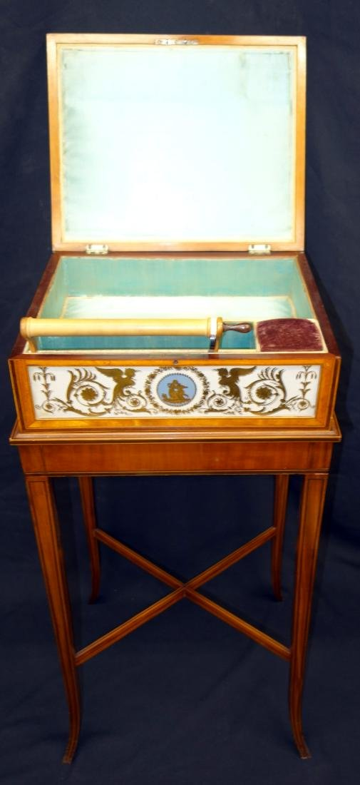 EGLOMISE SEWING BOX ON STAND - 2