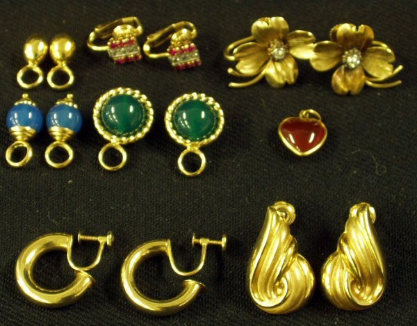 21: (4) PAIR EARRINGS, ASSORTED DROPS 14K GOLD