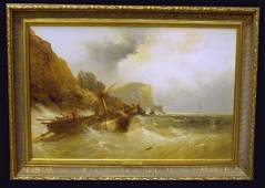 144 SHIP WRECK SEASCAPE OIL ON CANVAS WEBB