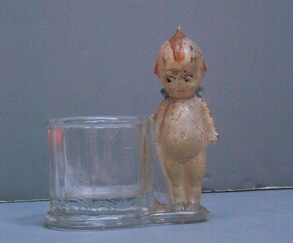 GLASS KEWPIE CANDY DISH - GEO. BORGFELDT & CO.