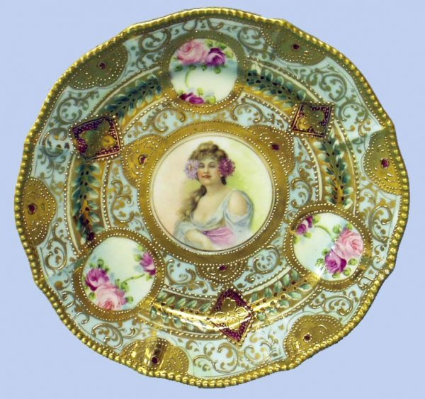 7: NIPPON HANDPAINTED PORTRAIT PLATE - BEADING
