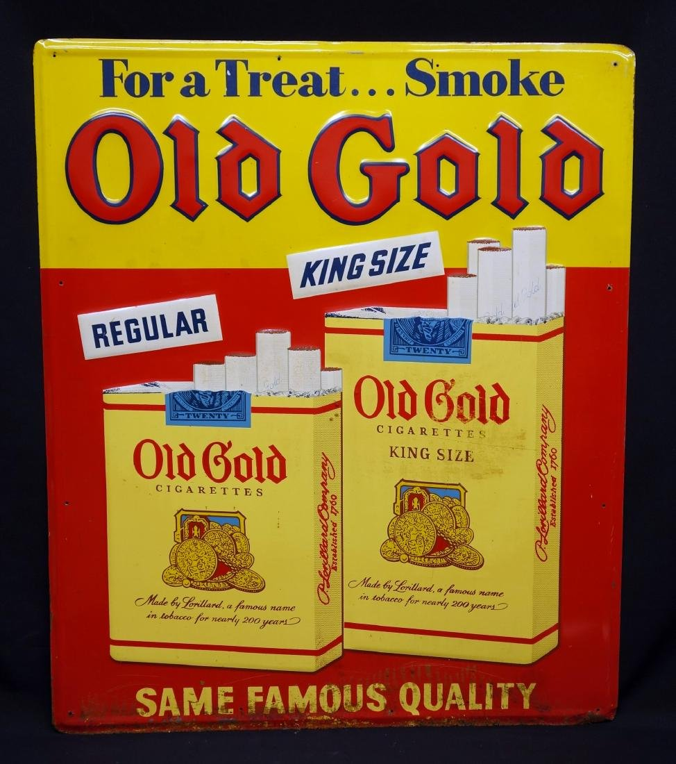 """OLD GOLD"" CIGARETTE ADVERTISING SIGN"