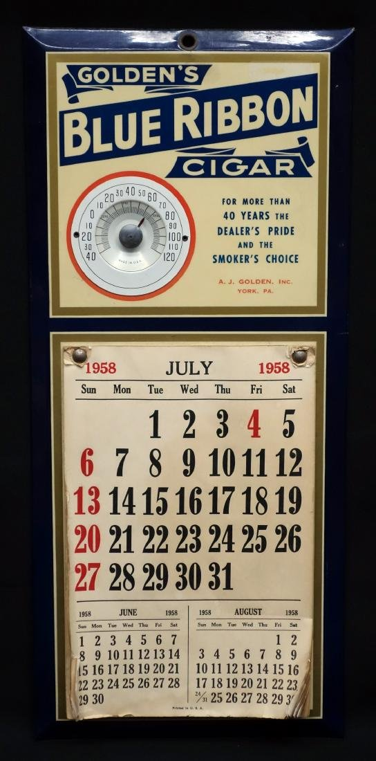 CIGAR CALENDAR / THERMOMETER ADVERTISING SIGN