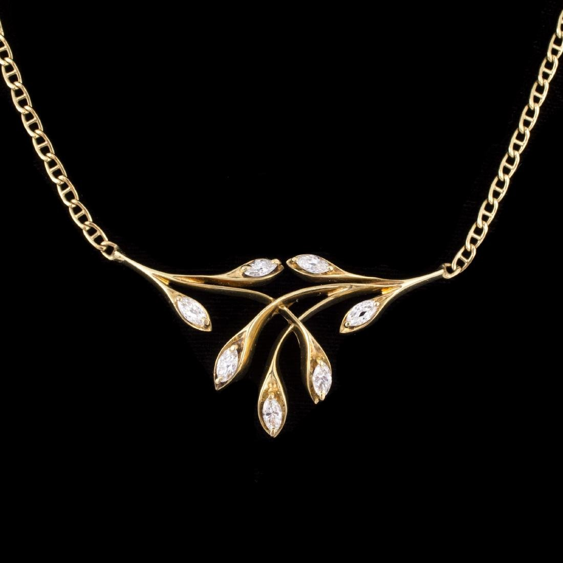 CONTEMPORARY DIAMOND & GOLD LEAF FORM NECKLACE