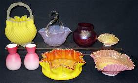 VICTORIAN ART GLASS (8) PIECES