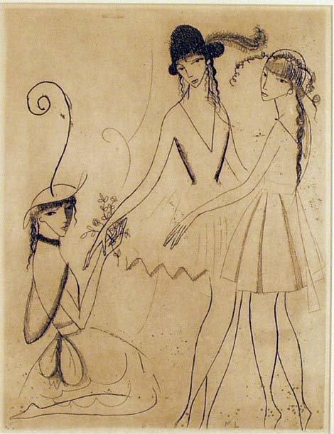 1012: MARIE LAURENCIN Trois Jeunes Fillez Litho NR