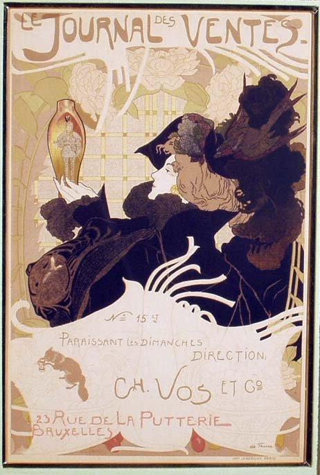 1013: GEORGES DE FEURE Art Nouveau Woodblock Print NR