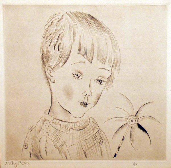 1015: MILY POSSOZ Girl with Pinwheel Colored Print NR