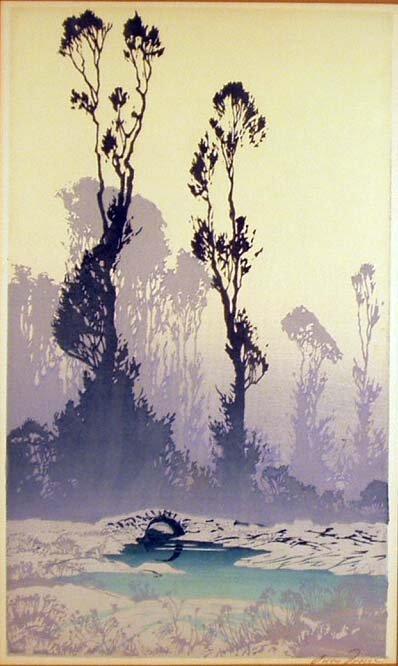 1019: OSCAR DROEGE Color Woodblock Landscape Print NR
