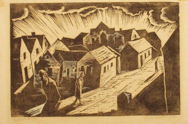 1020: JAKOB STEINHARDT Village Scene Woodblock Print NR