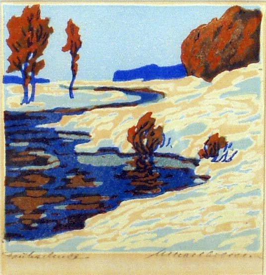 1021: EUROPEAN SCHOOL Winter Scene Color Woodblock NR