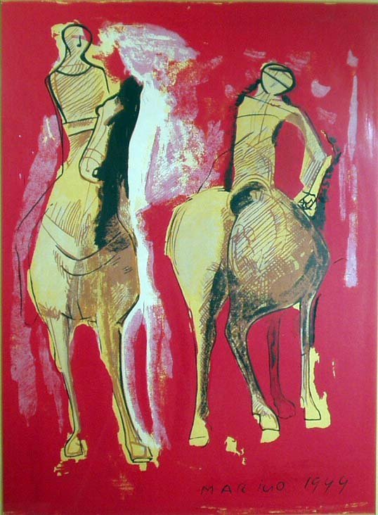 1022: MARINO MARINI Red Horses Modernist Lithograph NR