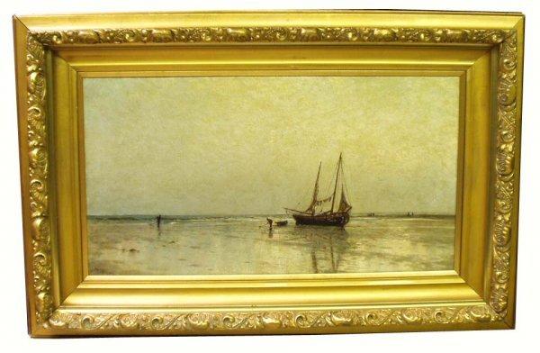 1118: ARTHUR QUARTLEY Beach Scene Oil Painting NR