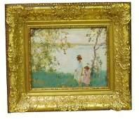 1212: EDWARD DUFNER Afternoon Walk Oil Painting NR