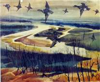 1223 F W BENSON Ducks in Flight Watercolor NR