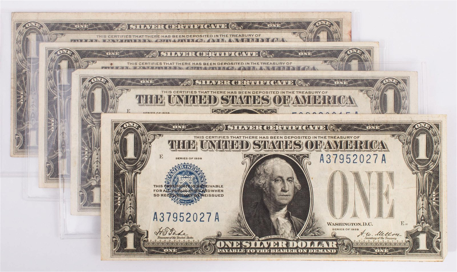 1928 $1 SILVER CERTIFICATES (4)