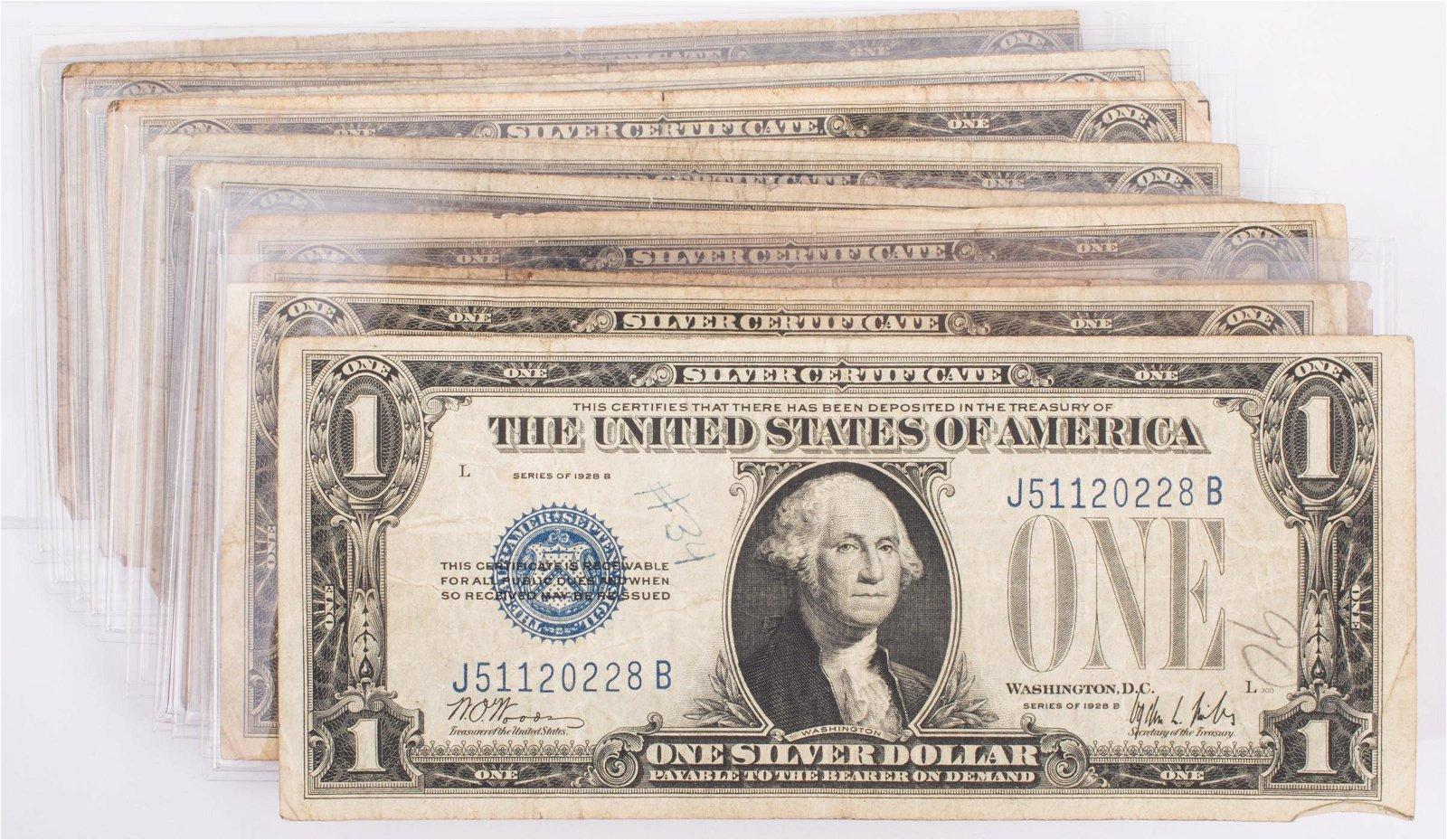 1928 $1 SILVER CERTIFICATES (13) A&B