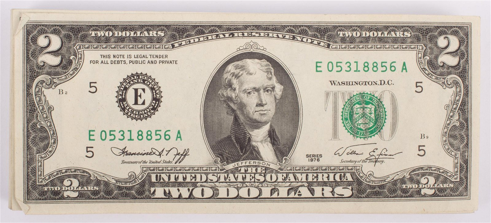 $2 FEDERAL RESERVE NOTES - SEQUENTIAL (100)