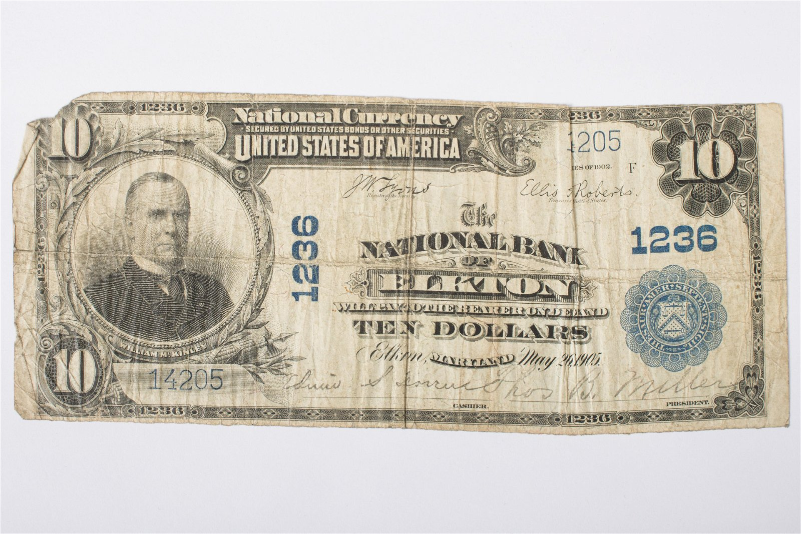 1902 $10 NATIONAL CURRENCY - ELKTON MD