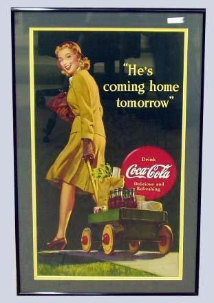6: COCA-COLA ADVERTISING CARDBOARD SIGN
