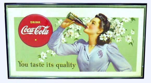 8: 1942 COCA-COLA CARDBOARD ADVERTISING SIGN