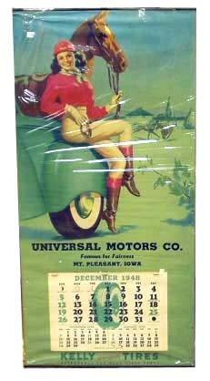 12: UNIVERSAL MOTORS AUTOMOBILE PINUP CALENDAR