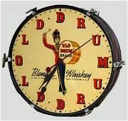 67 OLD DRUM WHISKEY ADVERTISING CLOCK