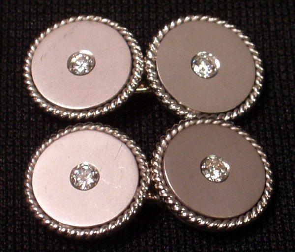 1: WHITE GOLD and DIAMOND TOGGLE CUFF LINKS