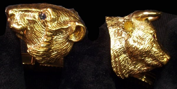 3: 18K GOLD BULL & BEAR CUFFLINKS