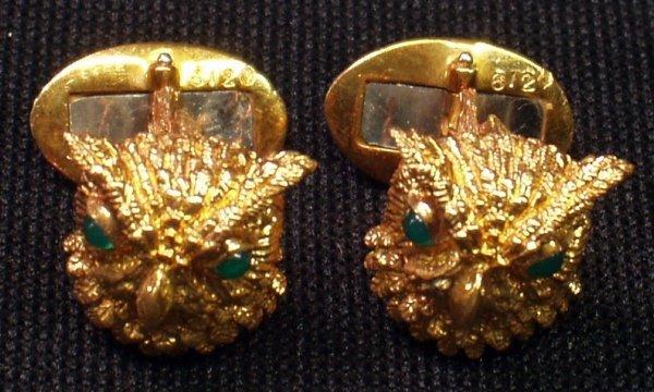10: GOLD and ENAMEL OWL HEAD CUFFLINKS