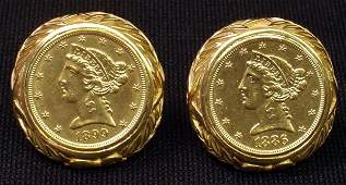 11 14K 5 LIBERTY COIN CUFFLINKS  18861899