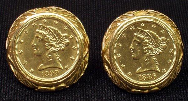 11: 14K $5 LIBERTY COIN CUFFLINKS - 1886-1899