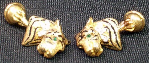 13: 18K GOLD TIFFANY ENAMEL TIGER CUFFLINKS