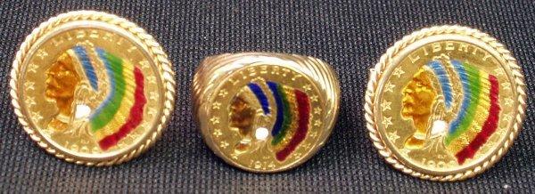 14: 14K GOLD $5 INDIAN HEAD COIN CUFFLINKS & RING